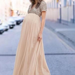 Maternity V Neck Maxi Tulle Dress With Sequins